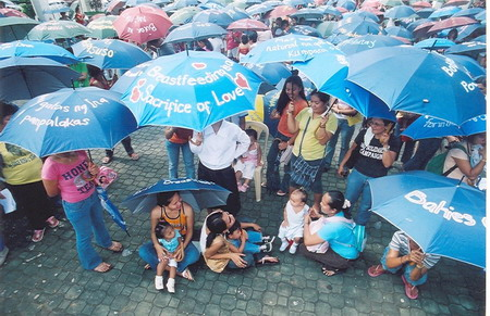 Philippines Umbrellas Breastfeeding Protest.