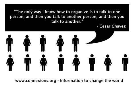 Cesar Chavez: The only way I know to organize is to talk to one person, and then you talk to another person.